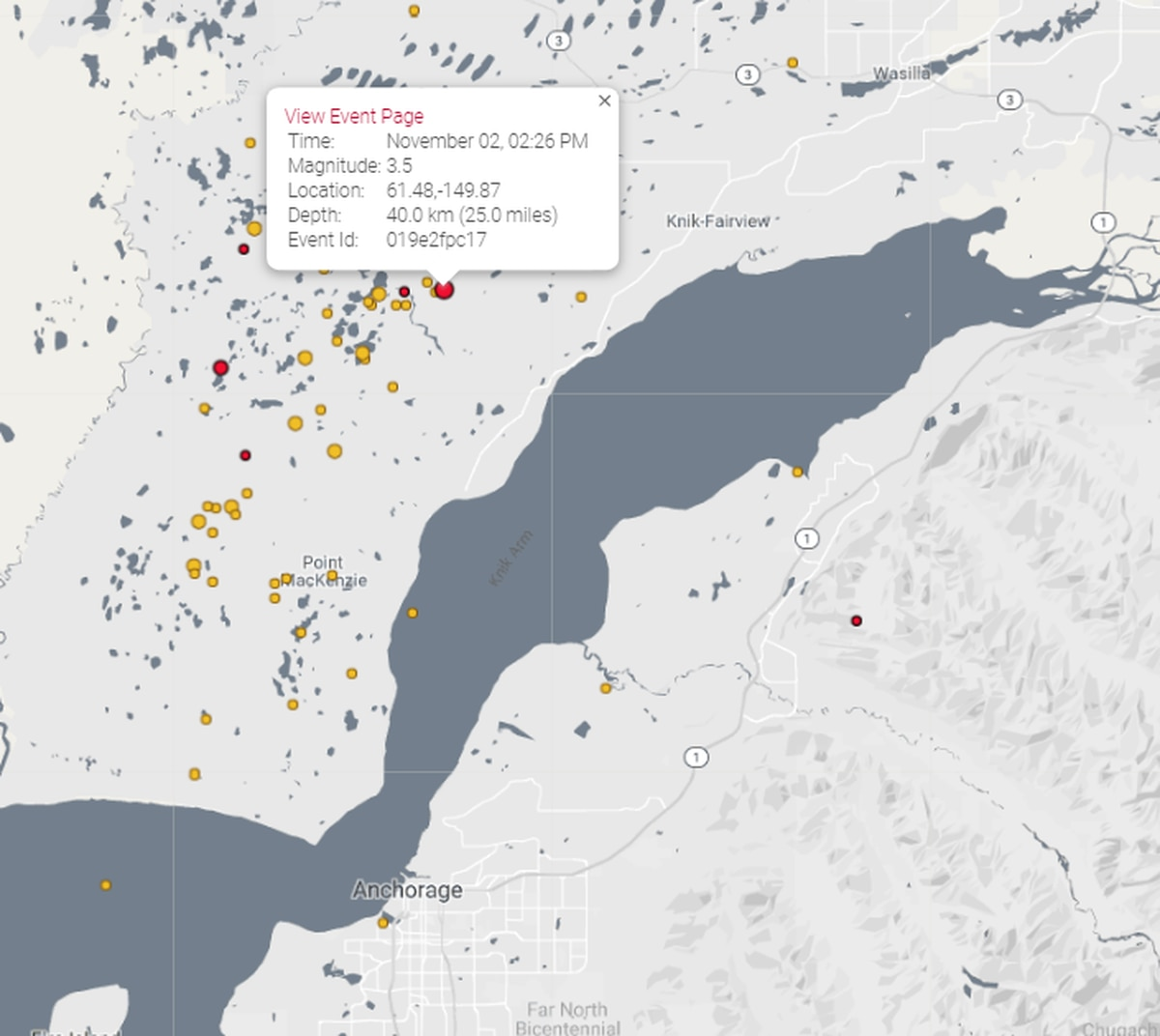 An earthquake with a reviewed magnitude of 3.5 struck south of Big Lake at 2:26 p.m. Saturday, Nov. 2, 2019. (Screengrab from Alaska Earthquake Center website)