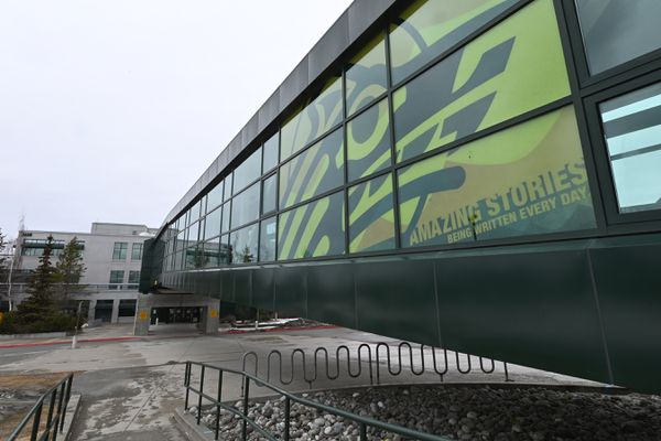 Buildings on the UAA campus remained closed on Wednesday, April 15, 2020, during the COVID-19 pandemic. (Bill Roth / ADN)