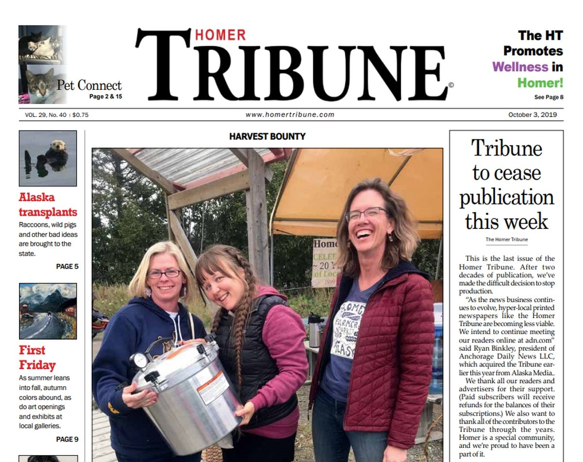 The Homer Tribune on Thursday, Oct. 3, 2019, announced that it would cease publication. (Screengrab of Homer Tribune digital edition)