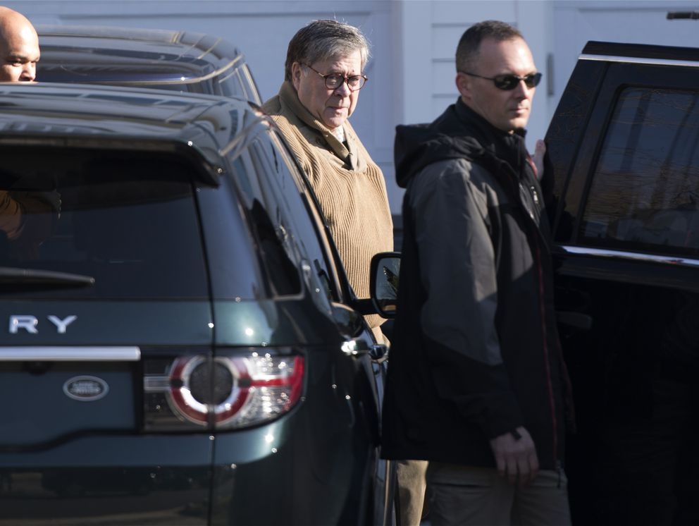 Attorney General William Barr leaves his home in McLean, Va., on Saturday morning, March 23, 2019. Special counsel Robert Mueller closed his long and contentious Russia investigation with no new charges, ending the probe that has cast a dark shadow over Donald Trump's presidency. (AP Photo/Sait Serkan Gurbuz)