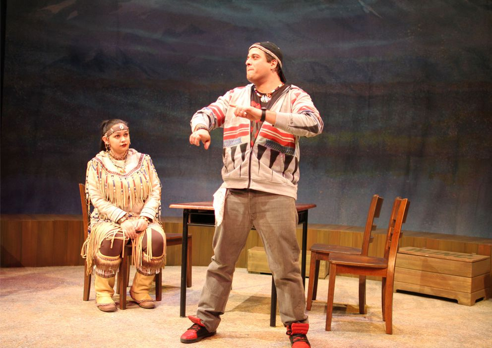"""Erin Tripp as Traditional Woman and Alec Shamas as Joker in """"William Inc.,"""" a new play from Perseverance Theatre. (Photo by Akiko Nishijima Rotch)"""