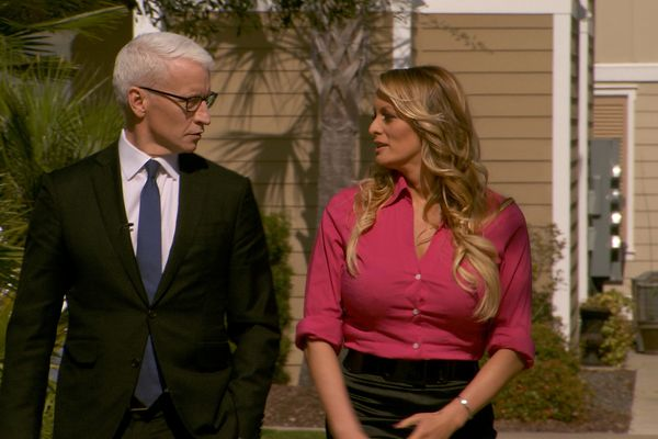 Stormy Daniels is interviewed by Anderson Cooper of 60 Minutes. CBSNews/60 MINUTES/via REUTERS