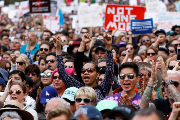 People hold signs and cheer during
