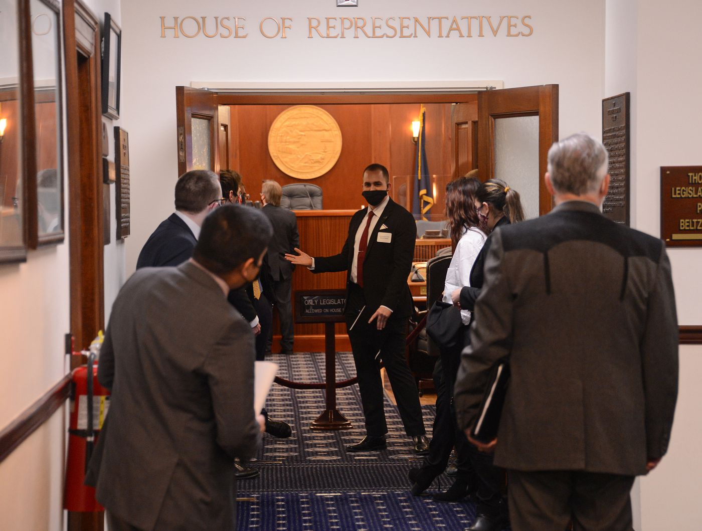 Representative-elect David Nelson, R-Anchorage, talks to new House pages on Wednesday, Jan. 13, 2021 before a training session for new legislators and staff. (James Brooks / ADN)