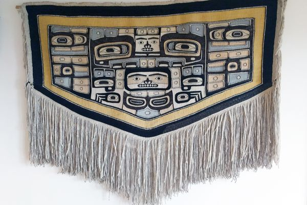 A one-of-a-kind Chilkat robe, woven in the late 1800s or early 1900s, has been given to the Sealaska Heritage Institute by a family in Seattle. The gift will be celebrated Aug. 26, 2017 at the Walter Soboleff Building in Juneau. (Sealaska Heritage Institute)