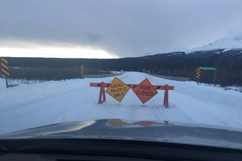 The road between the Yukon and the Southeast Alaska town of Haines is closed Monday, January 15, 2018 due to treacherous driving conditions. Courtesy John Bitney.
