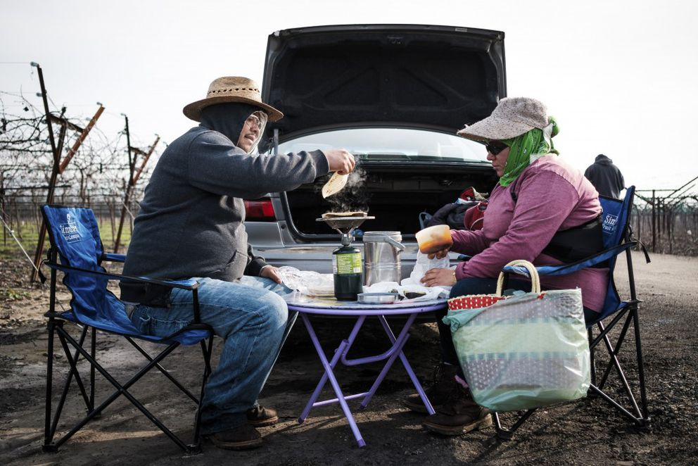 Feliciano Valdez and his wife Ares Valdez warm up tortillas for lunch while working in vineyards in Kingsburg, Calif., Jan. 26, 2017. President Donald Trump's executive orders upending immigration laws are alarming farmers in the Republican stronghold of Central Valley, who are wondering what they could mean for their work force. (Max Whittaker/The New York Times)