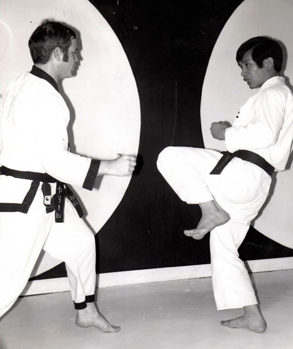 Sensei Katsutaka Tanaka partnered with Randy Corlew to teach free fighting techniques in 1973 at the Juneau Karate School. Corlew was one of the instructors of Juneau Karate school in Juneau during 1970s and early 1980s. Juneau Karate school was one of Tanaka's branch schools in Alaska. Corlew moved to Kodiak in 2000 and started the branch karate schools in Kodiak. (Courtesy of Sensei Katsutaka Tanaka)