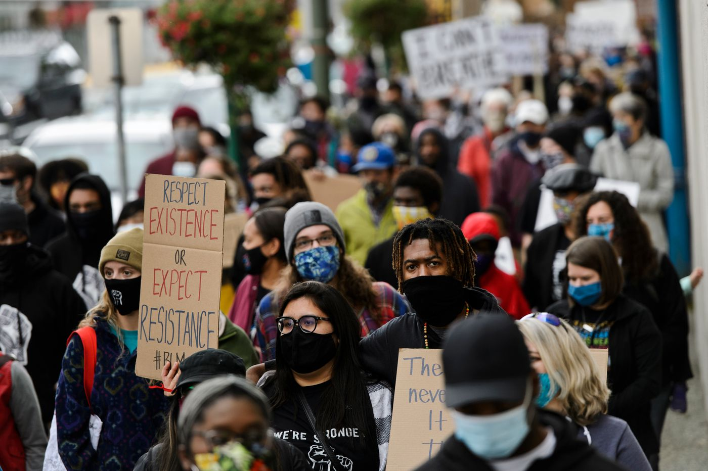 Marchers head west on 5th Avenue. (Marc Lester / ADN)