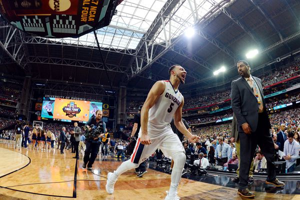 Apr 1, 2017; Glendale, AZ, USA; Gonzaga Bulldogs forward Johnathan Williams (3) celebrates as he walks off the court after beating the South Carolina Gamecocks in the semifinals of the 2017 NCAA Men's Final Four at University of Phoenix Stadium. Mandatory Credit: Robert Deutsch-USA TODAY Sports