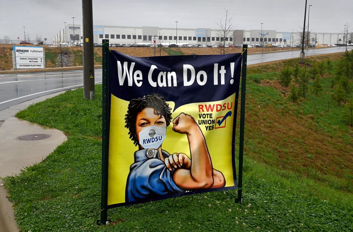 On March 16, a sign at the entrance to Bessemer, Ala.'s Amazon Fulfillment Center encourages workers to vote to unionize. (Washington Post photo by Michael S. Williamson)