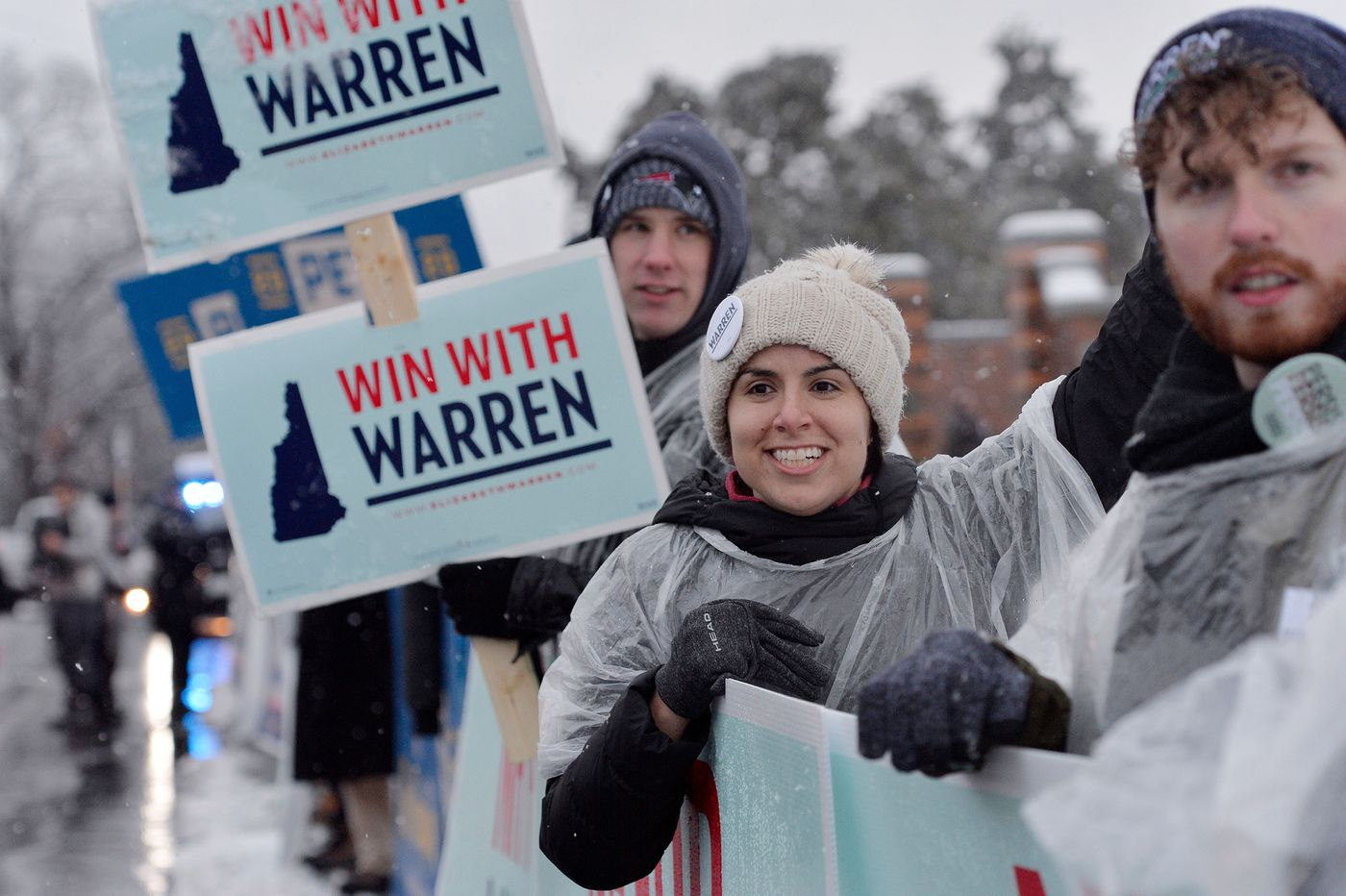 Supporters of U.S. Presidential candidate and Massachusetts Sen. Elizabeth Warren cheer and rally outside of the Democratic Debate at St. Anselm College in Manchester, New Hampshire on Feb. 7, 2020. (Joseph Prezioso/AFP/Getty Images/TNS)