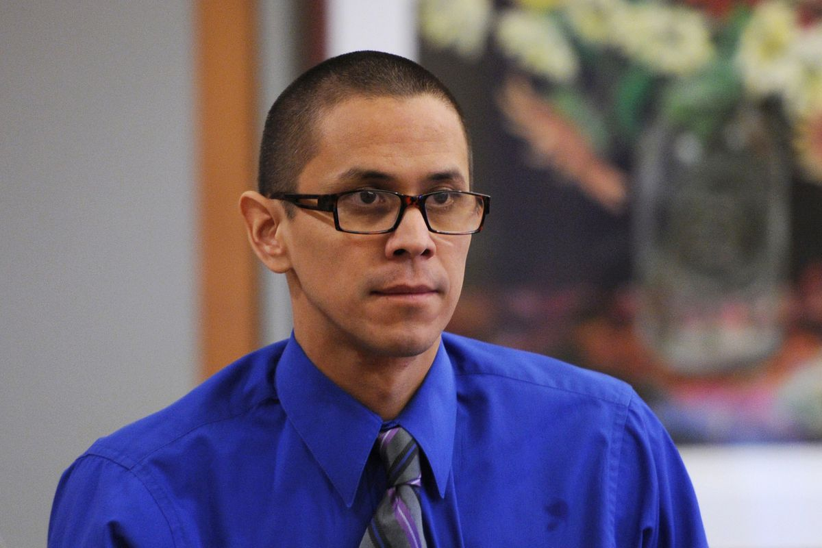 Thomas Skeek at his trial in Anchorage on Tuesday, Feb. 26, 2019. Skeek is charged with killing his wife three years ago. The body of Linda Skeek, 32, has not been found. (Bill Roth / ADN)