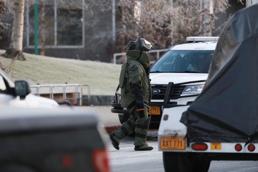 A bomb squad member outside the Anchorage federal courthouse on Thursday morning, Nov. 15, 2018. (Loren Holmes / ADN)