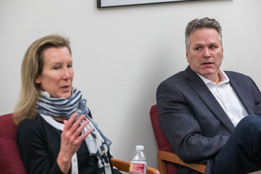 Office of Management and Budget Director Donna Arduin and Alaska Gov. Mike Dunleavy meet with the Anchorage Daily News to discuss Gov. Dunleavy's budget proposal Tuesday, March 26, 2019. (Loren Holmes / ADN)