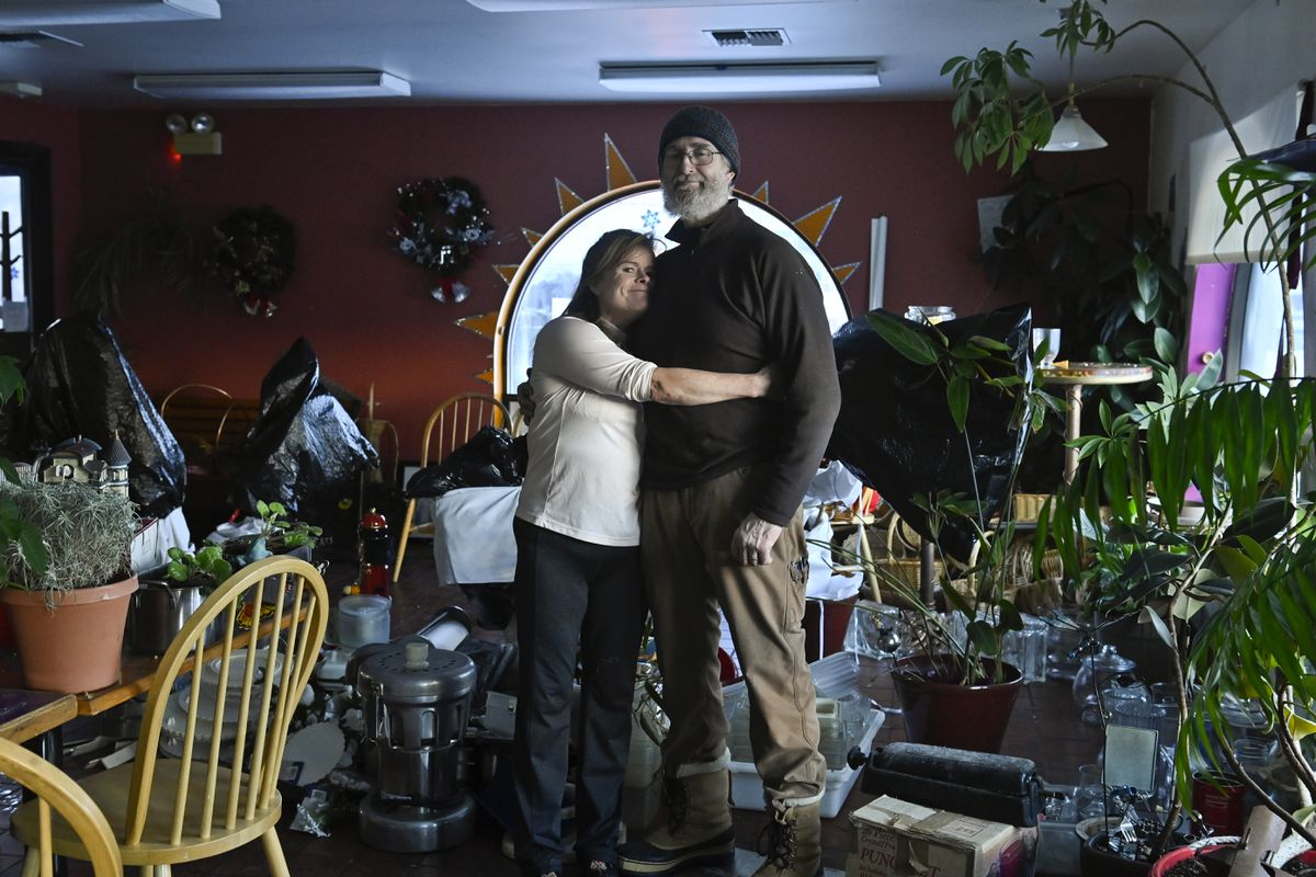 Tanya and Simon Newall owned Sweet Basil Cafe, which is now closed, on Northern Lights Boulevard. They worked to clear out the building on Jan. 12. (Marc Lester / ADN)