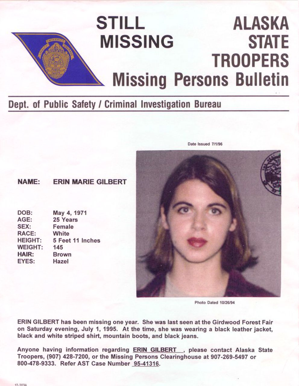 The missing persons bulletin released by Alaska State Troopers in the Erin Gilbert case (Alaska State Troopers)