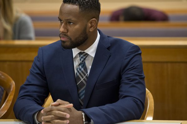 Anchorage Police officer Cornelius Aaron Pettus is arraigned for assault charges in Anchorage on November 15, 2019. (Marc Lester / ADN)