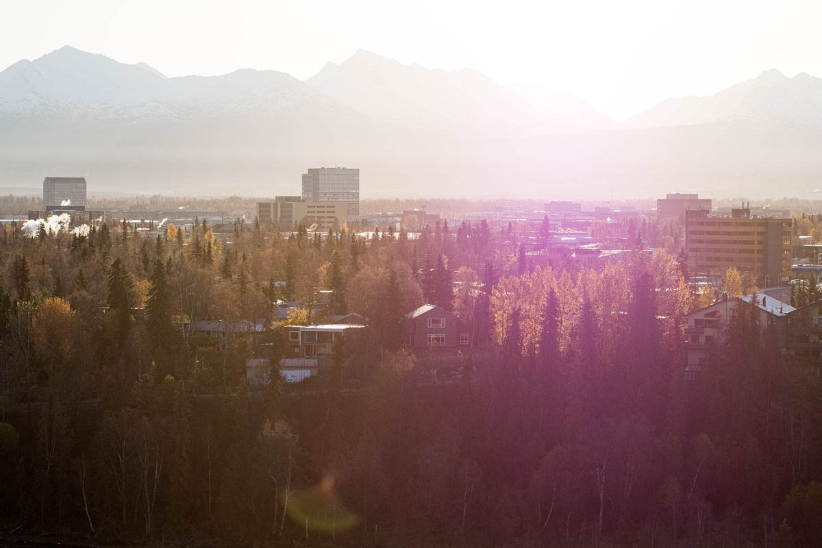 Buildings in Midtown Anchorage punctuate the skyline on Friday morning, Oct. 16, 2020. (Loren Holmes / ADN)