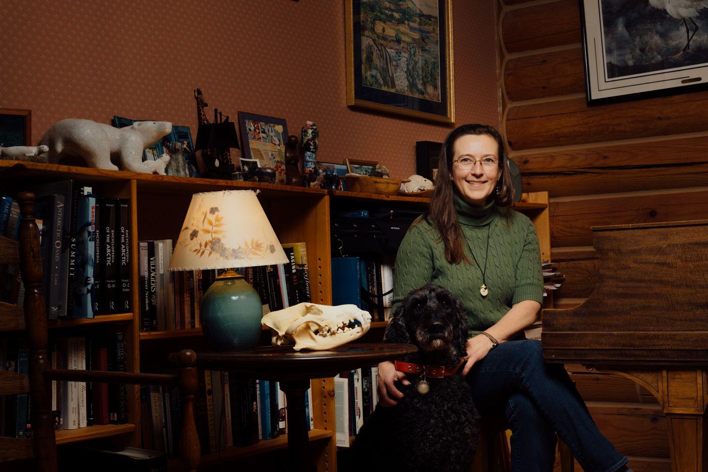 Kathy Burek sits for a portrait in her living room in Eagle River, Alaska. (Joshua Corbett)