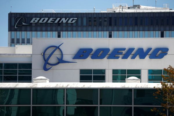 FILE PHOTO - The logo of Dow Jones Industrial Average stock market index listed company Boeing (BA) is seen in Los Angeles, California, United States, April 22, 2016. REUTERS/Lucy Nicholson/File Photo