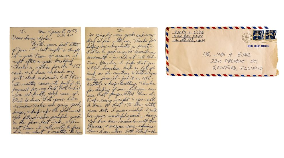 Ralph Eyde's letter to Sanford and John dated June 8, 1959 (Washington Post photo by Bill O'Leary)