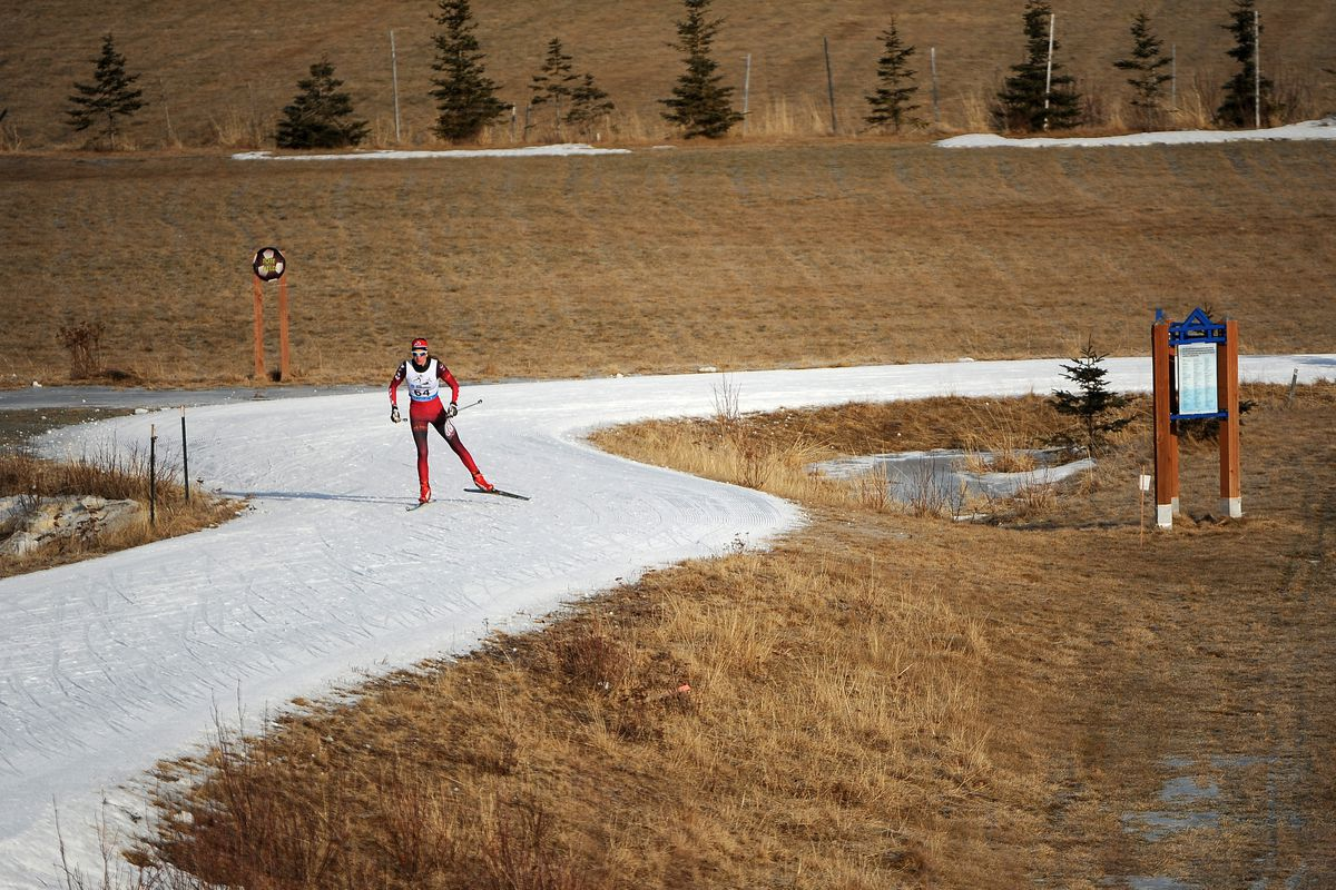 A ski racer negotiates a ribbon of snow running through snowless soccer fields at Kincaid Park in February 2015. (Erik Hill / ADN archive)
