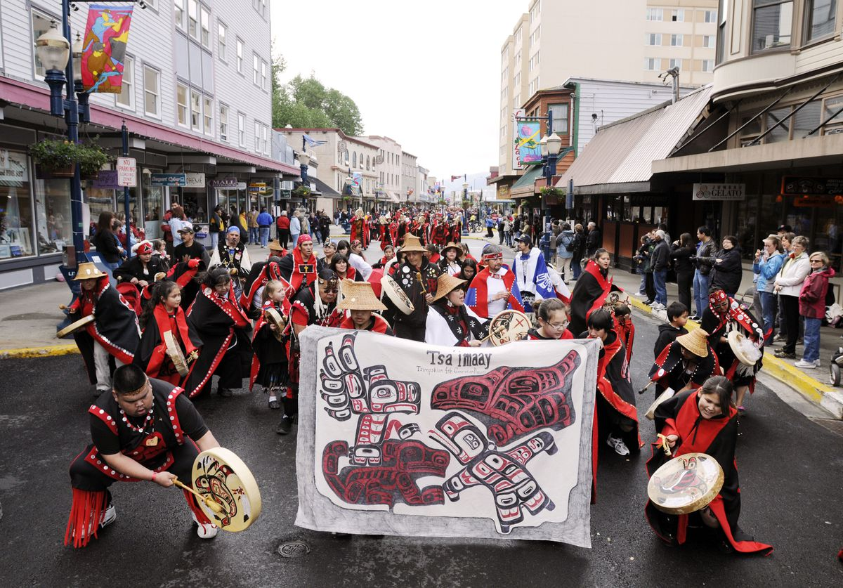 Tsa'imaay dancers from the Tsimshian tribe dance during the Celebration 2008 parade on Franklin Street in Juneau on June 7, 2008. (Chris Miller / Associated Press)