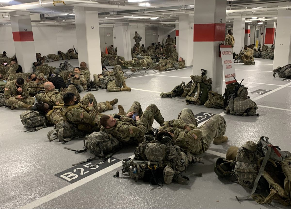National Guard members in a Senate garage Thursday, Jan. 21, 2021. (Photo obtained by The Washington Post)