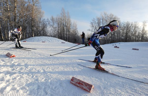 APU's Jessica Yeaton, right, competes during the women's freestyle sprint races at the U.S. Cross Country Skiing Championships at Kincaid Park on Friday, Jan. 5, 2018. (Bill Roth / ADN)