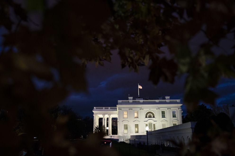 The sun sets on the White House on Tuesday Nov. 17, 2020, in Washington, D.C. Washington Post photo by Jabin Botsford