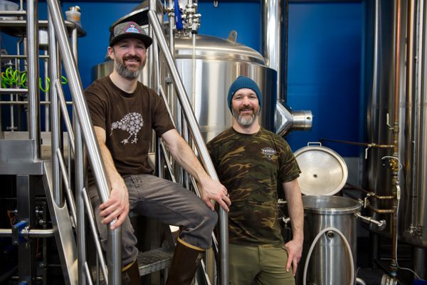 Twin brothers Rory, left, and Brett Marenco opened Girdwood Brewing in March 2017. Photographed on March 6, 2018. (Marc Lester / ADN)