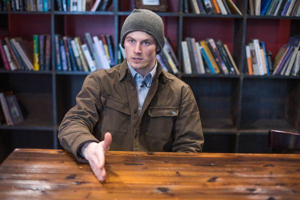 Dallas Seavey speaks to Alaska Dispatch News reporter Tegan Hanlon Tuesday, Oct. 24, 2017 at Kaladi Brothers Coffee in Anchorage. Seavey's dogs tested positive for the banned drug tramadol after the 2017 Iditarod. (Loren Holmes / Alaska Dispatch News)