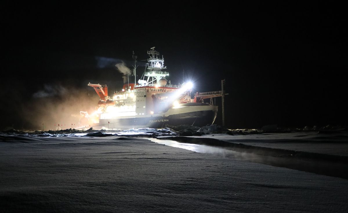 A crack opened up in the ice alongside the research vessel Polarstern. Researchers on the MOSAiC mission are struggling to cope with more fragile and easily fractured ice, a consequence of climate change. (Matthew Shupe/Colorado-Boulder/NOAA/CIRES)