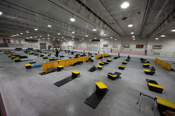 Clients make use of the new space in the Ben Boeke arena, Sat. March 21, 2020. (Photo by Matt Waliszek / Bean's Cafe)