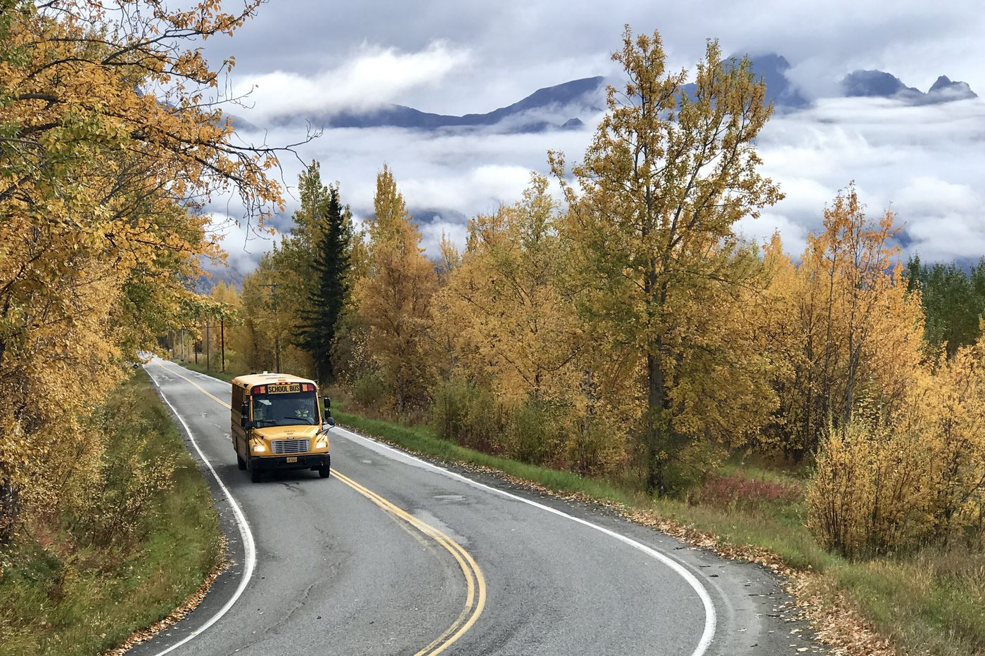 A school bus travels on South Bodenburg Loop near the Butte while dropping off students after school on Thursday, Sept. 24, 2020. (Bill Roth/ADN)