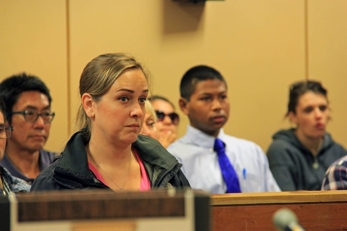 Jennifer Suchan appears in Anchorage District Court July 14, 2017 after she was charged with stealing from the Mustang Hockey Association while employed as the youth hockey association's volunteer treasurer. On May 7, 2018, federal prosecutors filed felony wire fraud charges against Suchan in federal court. (Alaska Star file photo/Kirsten Swann)