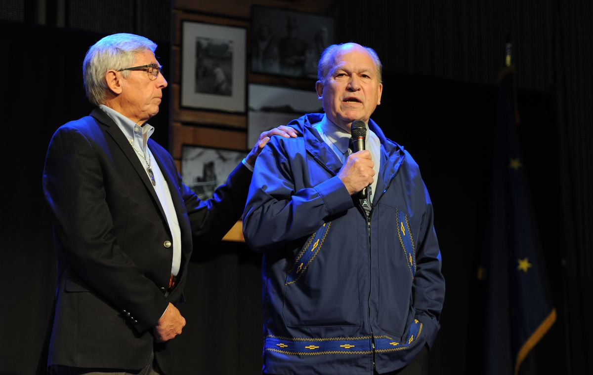 Former Lt. Gov. Byron Mallott and Gov. Bill Walker at the First Alaskans Institute Elders & Youth Conference on Monday Oct. 15, 2018, at the Dena'ina Center. (Bill Roth / ADN)
