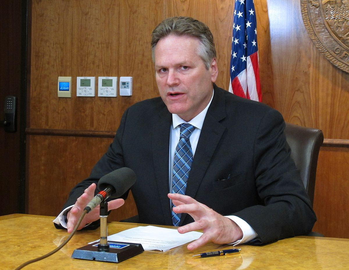 Alaska Gov. Mike Dunleavy speaks to reporters about his expectations for the end of the legislative session on Wednesday, May 15, 2019, Juneau, Alaska. (AP Photo/Becky Bohrer)