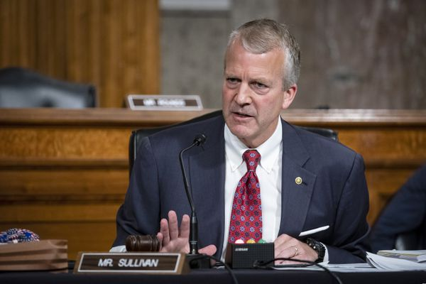 FILE - In this May 7, 2020 file photo, Sen. Dan Sullivan, R-Alaska, testifies during a hearing on Capitol Hill in Washington. Sen. Al Gross, an independent running with Democratic support, is challenging Sullivan in Alaska, a state that has long been a GOP stronghold. Across the country, Republicans are nervous about Senate seats like Sullivan's they once thought safe as Democrats hope to capitalize on President Donald Trump's unpopularity to retake the chamber. (Al Drago/Pool via AP, File)