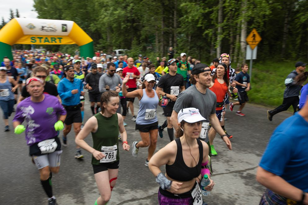 A field of more than 600 start the marathon. (Loren Holmes / ADN)