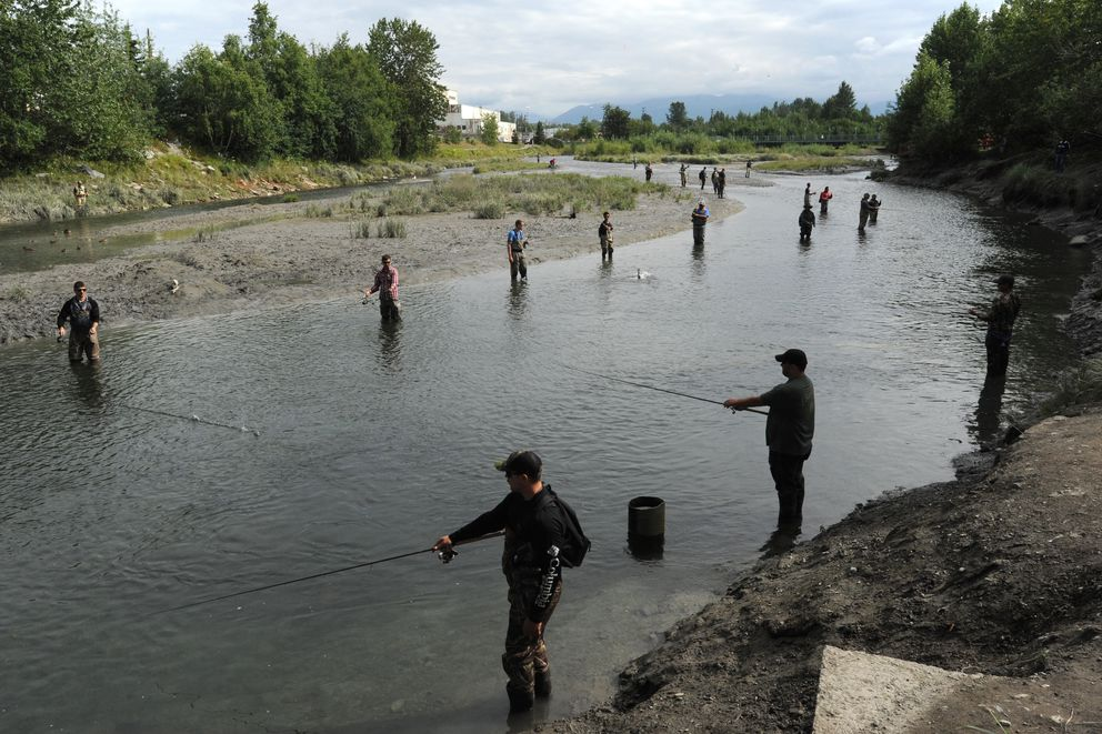 Anglers try their luck fishing for coho salmon during an incoming tide at Ship Creek near downtown Anchorage on Sunday, July 30, 2017. Dustin Slinker of The Bait Shack said the