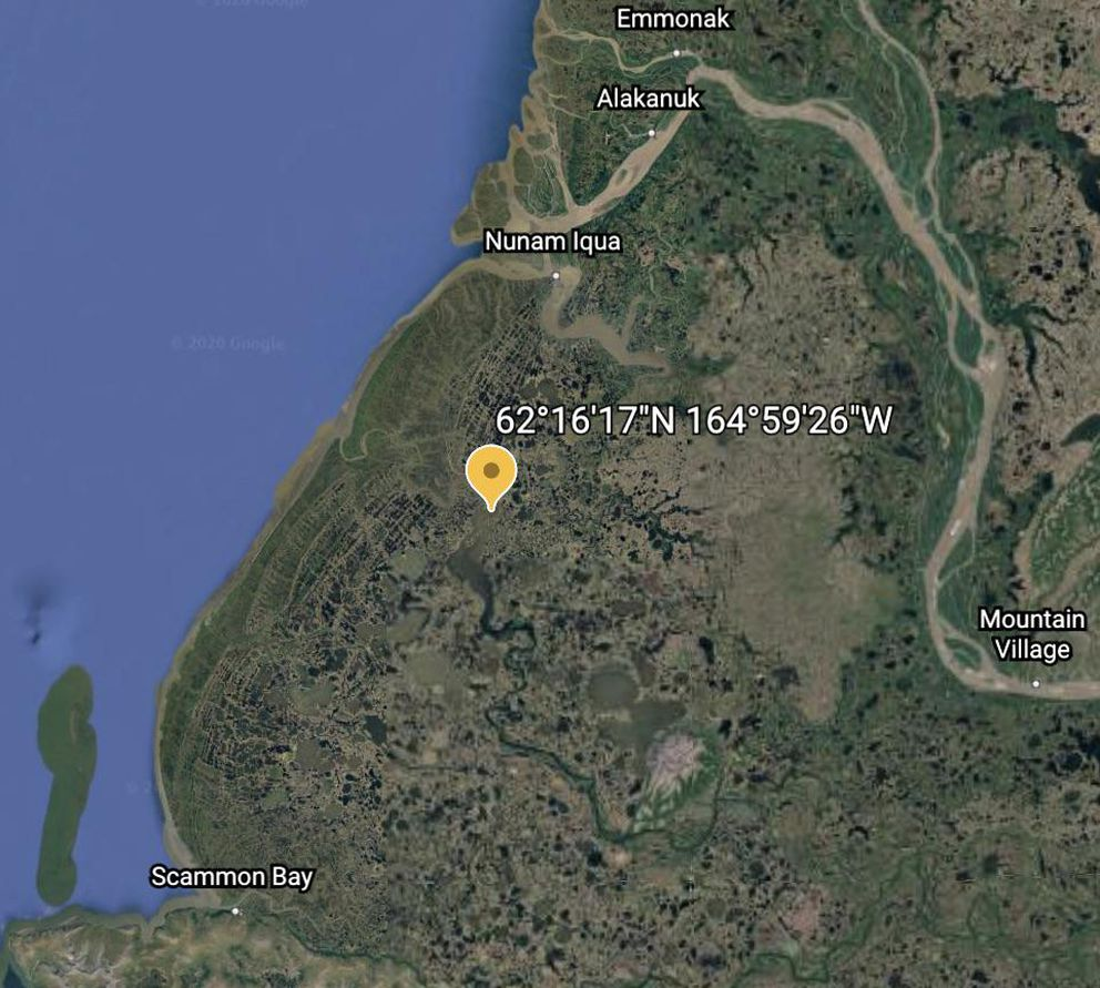 Scammon Bay searchers found four missing children from Nunam Iqua 18 miles south of their village. (Google Earth)