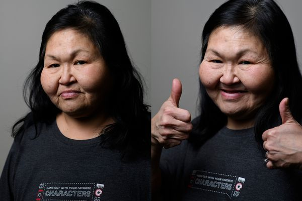 Susan Nelson, before and after her haircut. Dozens of people got haircuts at the Trend Setters School of Beauty station at Project Homeless Connect at the Egan Center on January 22, 2020. (Marc Lester / Anchorage Daily News)