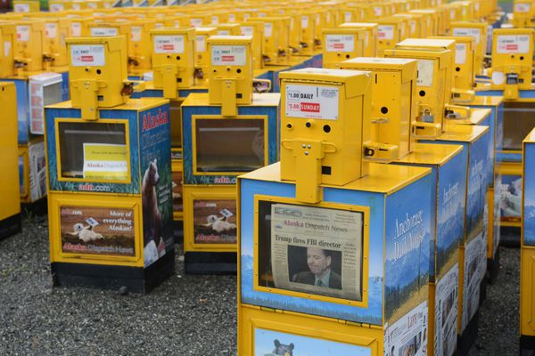 Alaska telecommunications company GCI filed suit against Alaska Dispatch News on Friday, August 11, 2017, to evict ADN from its printing and warehouse operation at the old Anchorage Daily News building in east Anchorage. News boxes are stored adjacent to the warehouse. (Erik Hill / Alaska Dispatch News)