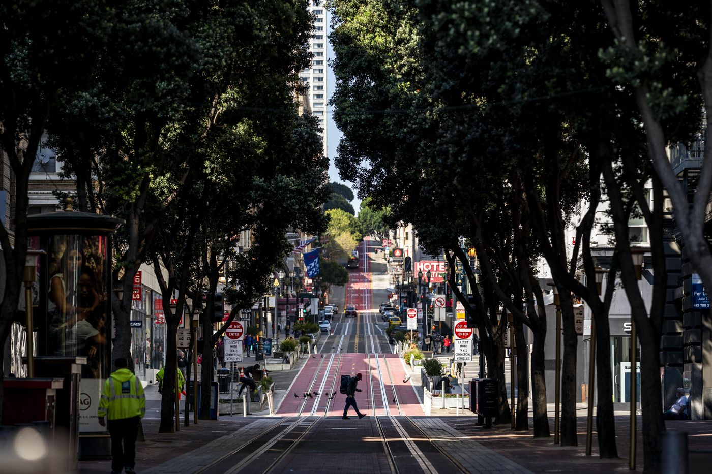 A few people walk the streets of San Francisco during 'stay-at-home ' orders March 20. Washington Post photo by Melina Mara