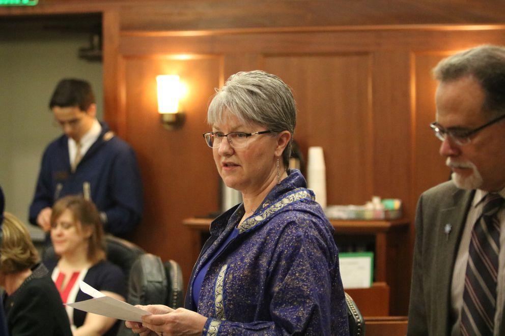 Eagle River Republican Sen. Anna MacKinnon stands during a break from a Senate floor session last month. (Nathaniel Herz / ADN)