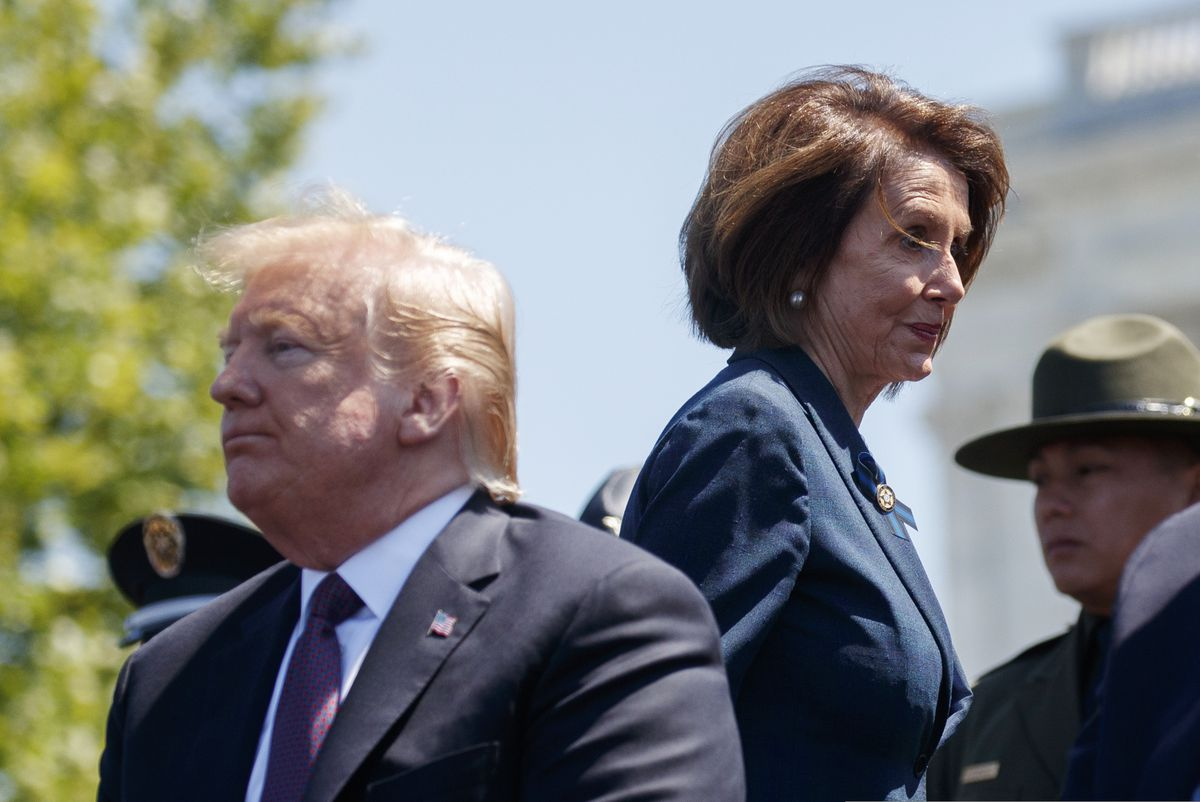 President Donald Trump and Speaker of the House Nancy Pelosi of Calif., attend the 38th Annual National Peace Officers' Memorial Service at the U.S. Capitol, Wednesday, May 15, 2019, in Washington. (AP Photo/Evan Vucci)