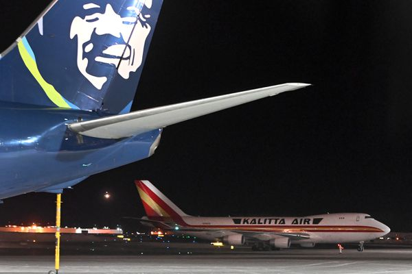 A Kalitta Air Boeing 747 carrying U.S. citizens being evacuated from Wuhan, China, made a refueling stop at the north terminal at Ted Stevens Anchorage International Airport on Tuesday evening, Jan. 28, 2020. (Bill Roth / ADN)