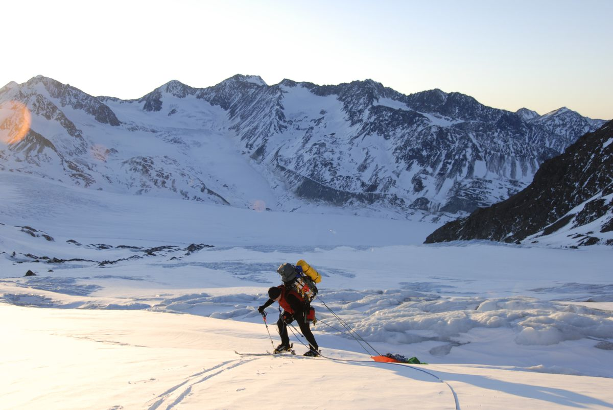Traversing across snowfields and crevasses on Alaska's White Elk Glacier while training for technical alpine rescue. (Courtesy of Chris Robertson)
